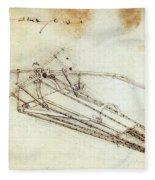 Da Vinci Flying Machine 1485 Fleece Blanket