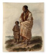 Dacota Woman And Assiniboin Girl Fleece Blanket