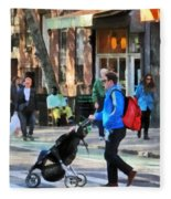 Daddy Pushing Stroller Greenwich Village Fleece Blanket