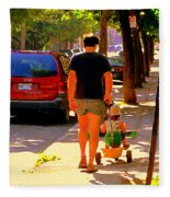 Daddy's Little Buddy Perfect Day Wagon Ride Montreal Neighborhood City Scene Art Carole Spandau Fleece Blanket