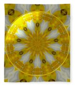 Daffodil And Easter Lily Kaleidoscope Under Glass Fleece Blanket