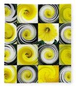 Daffodil Spring Mosaic Fleece Blanket