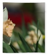 Daffodil With A Splash Of Red Fleece Blanket