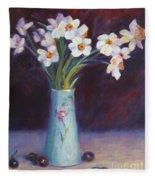 Daffodils And Cherries Fleece Blanket