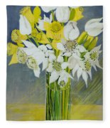 Daffodils And White Tulips In An Octagonal Glass Vase Fleece Blanket