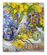 Daffodils Antique Jugs Plates Textiles And Lace Fleece Blanket