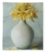 Daffodils In A White Flowerpot Fleece Blanket