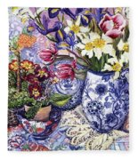 Daffodils Tulips And Iris In A Jacobean Blue And White Jug With Sanderson Fabric And Primroses Fleece Blanket