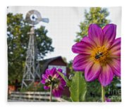 Dahlia Bee And Windmill Fleece Blanket