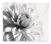 Dahlia Flower In Monochrome Fleece Blanket