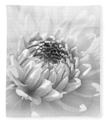 Dahlia Flower Soft Monochrome Fleece Blanket