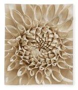 Dahlia Flower Star Burst Sepia Fleece Blanket
