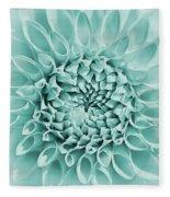 Dahlia Flower Star Burst Teal Fleece Blanket