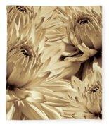 Dahlia Flowers Bouquet Sepia Fleece Blanket