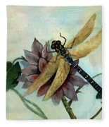Dahlia With Dragonfly Resting Fleece Blanket