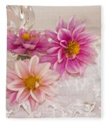 Dahlias And Lace Fleece Blanket