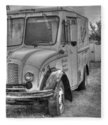 Dairy Truck - Old Rosenbergers Dairies - Black And White Fleece Blanket