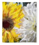 Daisies And Sunflowers - Impressionistic Fleece Blanket