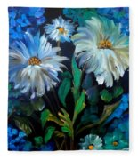 Daisies At Midnight Fleece Blanket