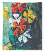 Daisies In A Green Vase Fleece Blanket