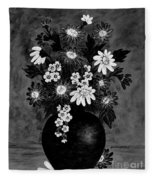 Daisies In Black And White Fleece Blanket