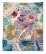 Daisies In Pot 02c - Du Bonheur En Pot Fleece Blanket