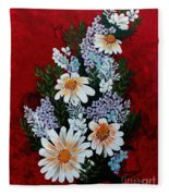 Daisies Lilacs And Forget Me Nots Fleece Blanket