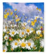 Daisies On A Hill - Impressionism Fleece Blanket