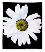 Daisy On Black Fleece Blanket