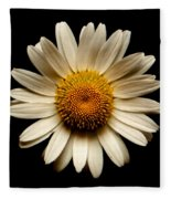 Daisy On Black Square Fleece Blanket
