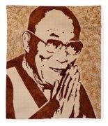 Dalai Lama Original Coffee Painting Fleece Blanket