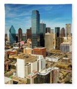 Dallas Skyline As Seen From Reunion Fleece Blanket