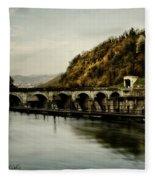 Dam On Adda River Fleece Blanket
