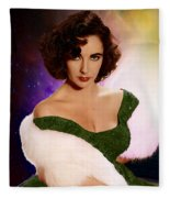 Dame Elizabeth Rosemond 'liz' Taylor - Featured In 'comfortable Art' Group Fleece Blanket