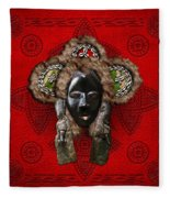 Dan Dean-gle Mask Of The Ivory Coast And Liberia On Red Leather Fleece Blanket