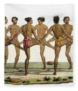 Dance Of The Caroline Islanders, Plate Fleece Blanket