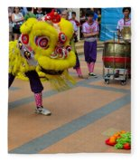 Dance Troupe Performs Chinese Lion Dance Singapore Fleece Blanket