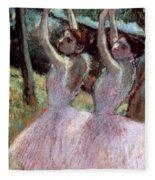 Dancers In Violet Dresses Fleece Blanket