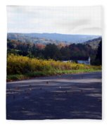 Dancing Leaves On A Country Road Fleece Blanket