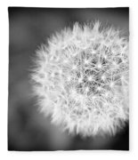 Dandelion 2 In Black And White Fleece Blanket