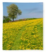 Dandelion Meadow And Alone Tree  Fleece Blanket