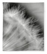 Dandelion Seeds - Black And White Fleece Blanket