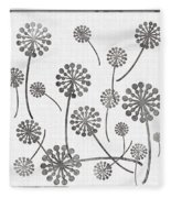 Dandelion Seeds Grey Fleece Blanket