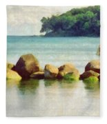 Danish Coast On The Rocks Fleece Blanket