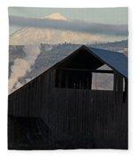 Dark Barn And Mt Mclaughlin Fleece Blanket