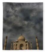 Dark Clouds Over Taj Mahal Fleece Blanket