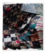 Dark Colored Blocks Patchwork Quilt  Fleece Blanket