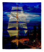 Dark Moonlight With Sails And Seagull Fleece Blanket