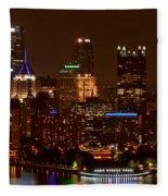 Dark Pittsburgh Skyline Fleece Blanket