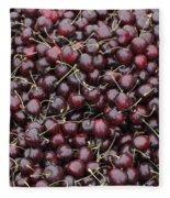 Dark Red Cherries For Sale Fleece Blanket
